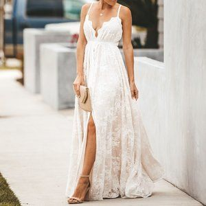 Sweet Devotion Convertible Lace Maxi Dress - White